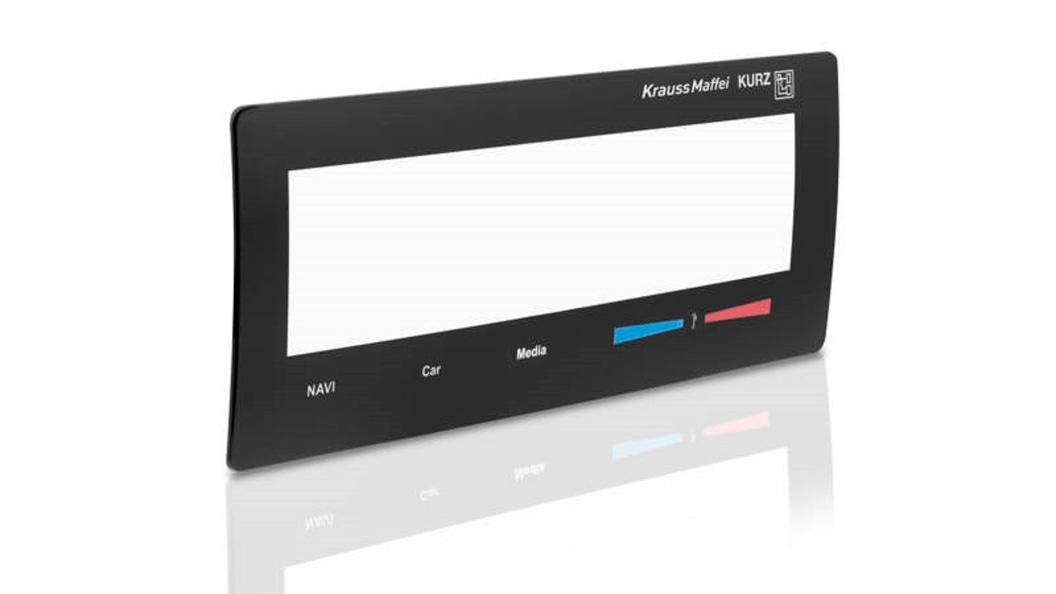HMI-Display mit integrierter Elektronik, schwarzem Dekorrahmen und Kratzfestbeschichtung