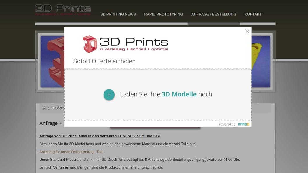 "2.  den Button ""3D MODELL HOCHLADEN"" anklicken"