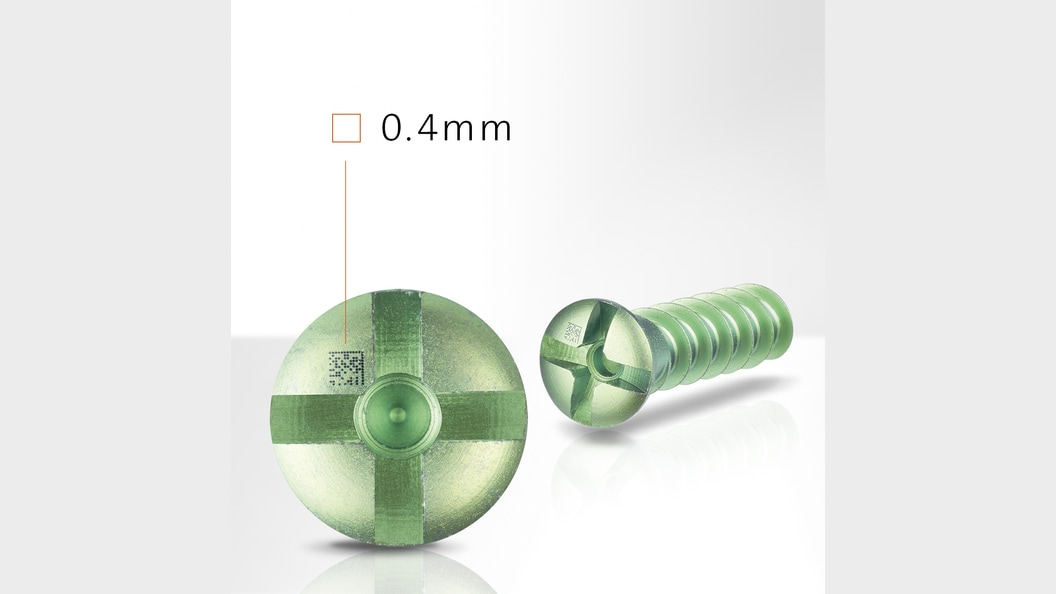 Dentalschraube mit 0,4mm Laserkennzeichnung