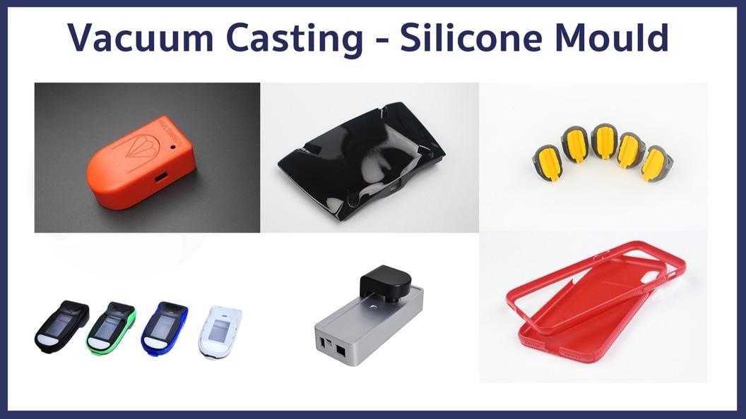 Einige Beispiele für Kunststoffteile, die mit Silikonformen hergestellt wurden.