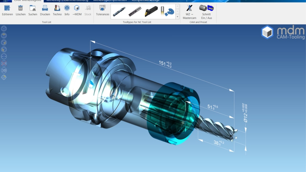 Das Toolmanagement Modul von MDM, verfügt über einen automatischen Komplettwerkzeuggenerator.