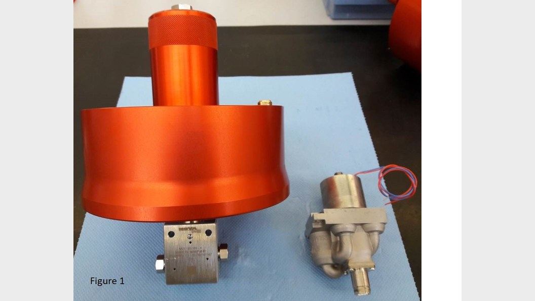 Fig 1: Left: pneumatically actuated valve&#x3B; Right: Nova iSV with plug for sensor wiring and magnetic