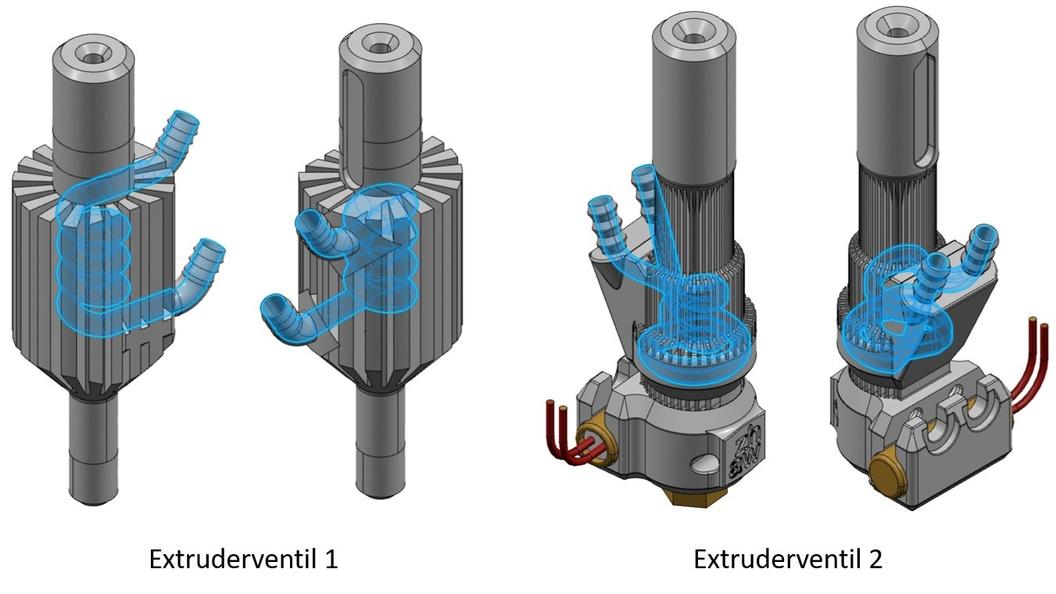 Extruderventil 1 und 2 mit integrierter Kühlung für FDM Drucker (CAD Modell)