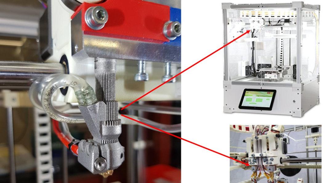 Extruderventil 1 additiv hergestellt (SLM) mit integrierter Kühlung im FDM-Drucker montiert