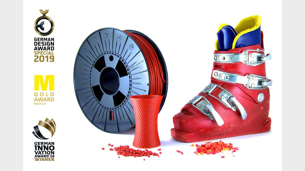 """Das mehrfach ausgezeichnete Material CREAMELT® TPU-R """"vom Skischuh zum 3D-Druck-Filament"""""""