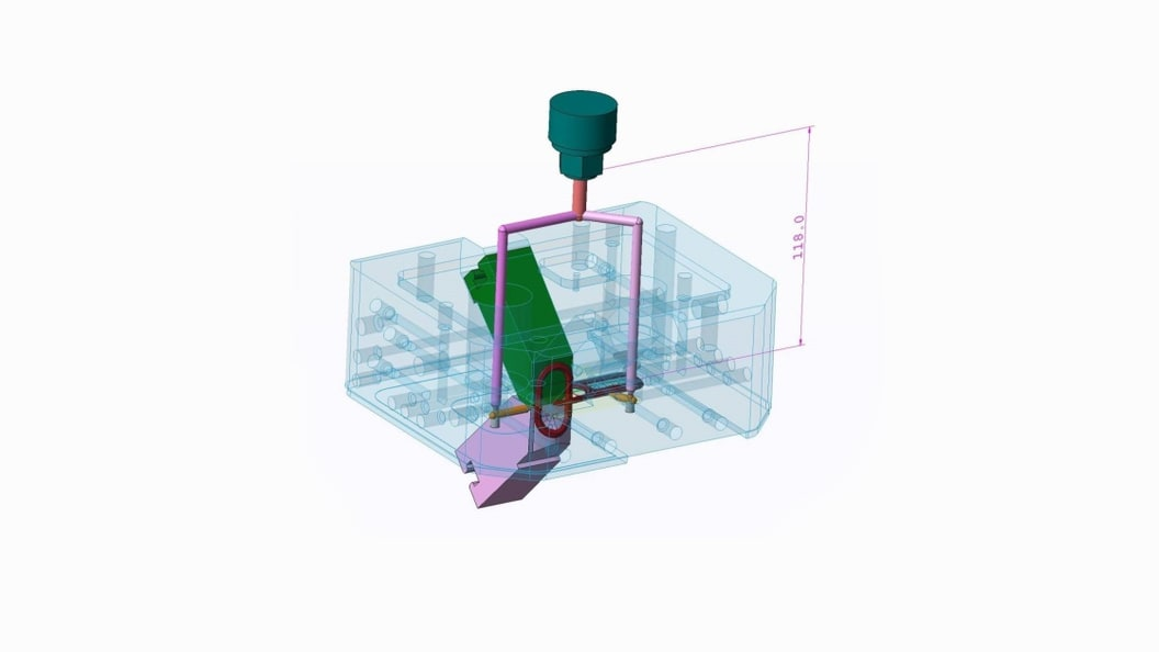 Abbildung 1: 3D Zeichnung vom Heißkanalsystem für einen Schlüsselanhänger. (Quelle: Arburg)