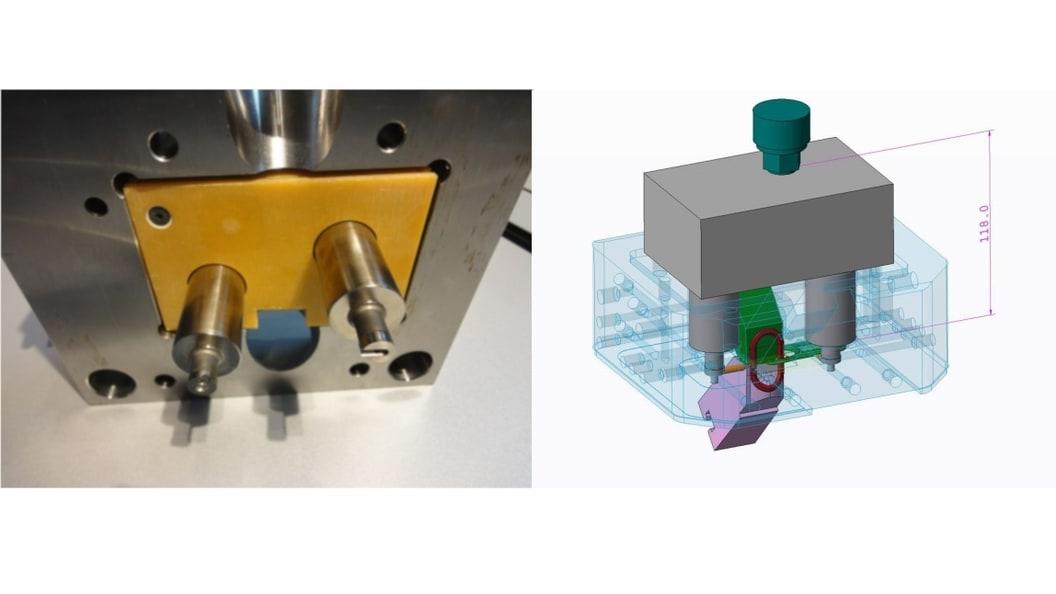 Abbildung 4: Flüssigkeitstemperiertes Heißkanalsystem für einen Schlüsselanhänger (Quelle: Arburg)