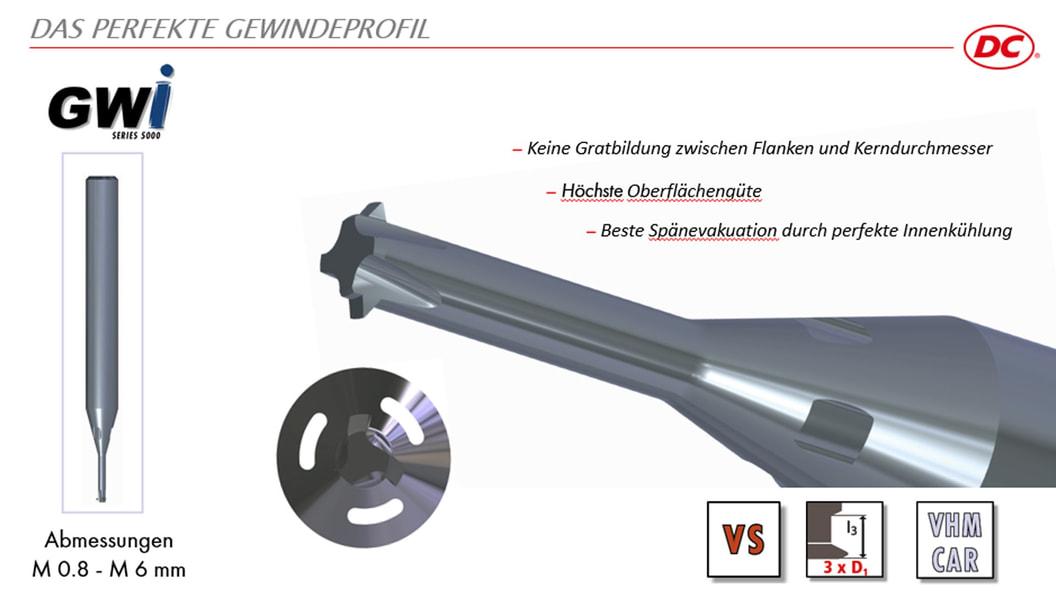 Gewindewirbler GWi 5000, mit Innenkühlung und patentierter Schneidgeometri