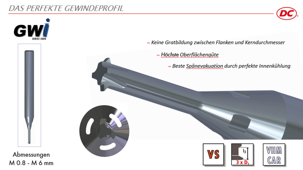 Thread whirler GWi 5000, with internal coolant and patented cutting geometry