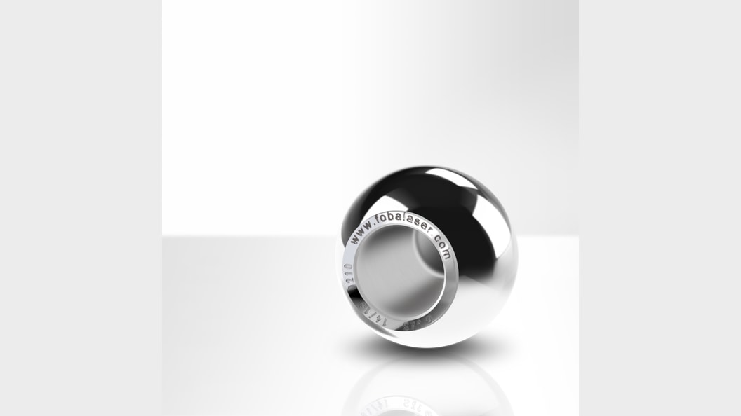 Laser engraved stainless steel hip ball implant (picture rights: FOBA)