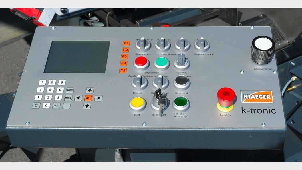 Machine control panel of KLAEGER double column automatic bandsaw