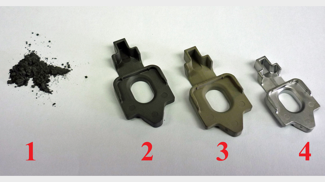 Das MIM-Verfahren vom Metallpulver zum fertigen, gesinterten Bauteil.