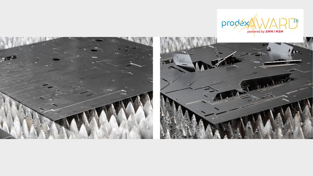 Links: Gutes Schneidergebnis mit «TiltPrevention». Rechts: Aufstehende Teile nach dem Laserschneiden