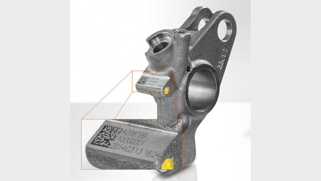 Kipphebel einer Motorbremse von Jacobs Vehicle Systems mit lasermarkiertem Code .