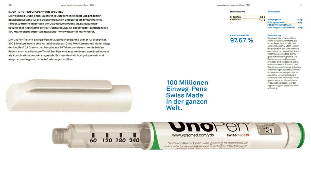 100 Millionen Injections-Pen UNOPEN von Ypsomed bestehen aus 97.67% Kunststoff