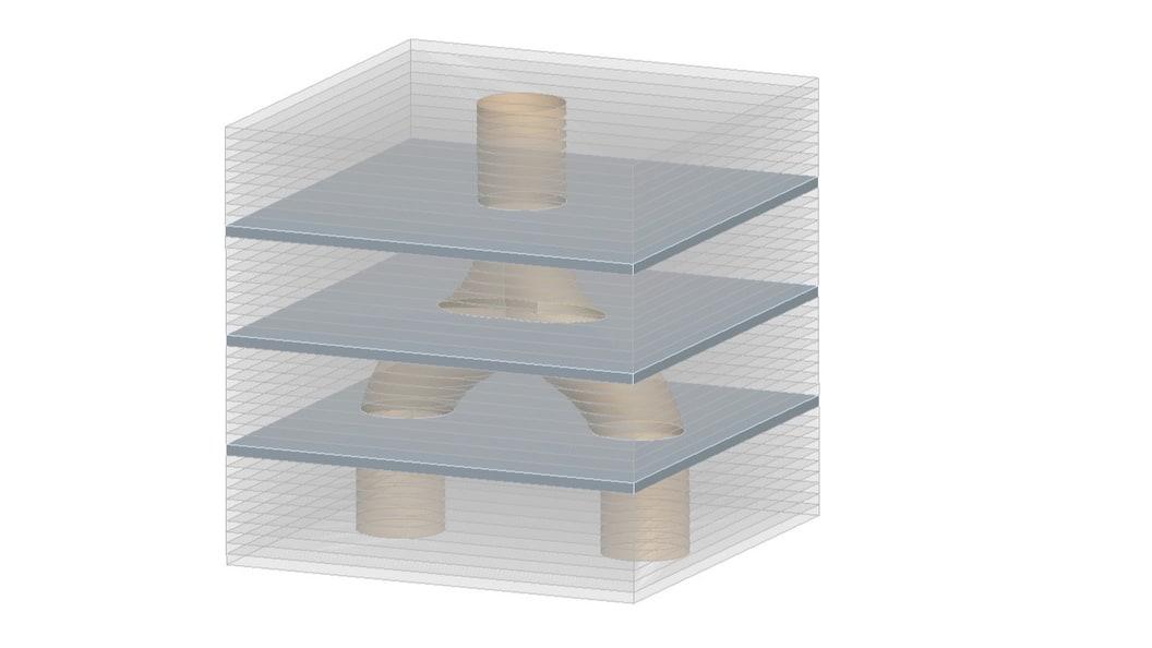 CAD-Ansicht:Dünne Blechzuschnitte werden in einem einzigen Lötprozess miteinander hochfest verbunden