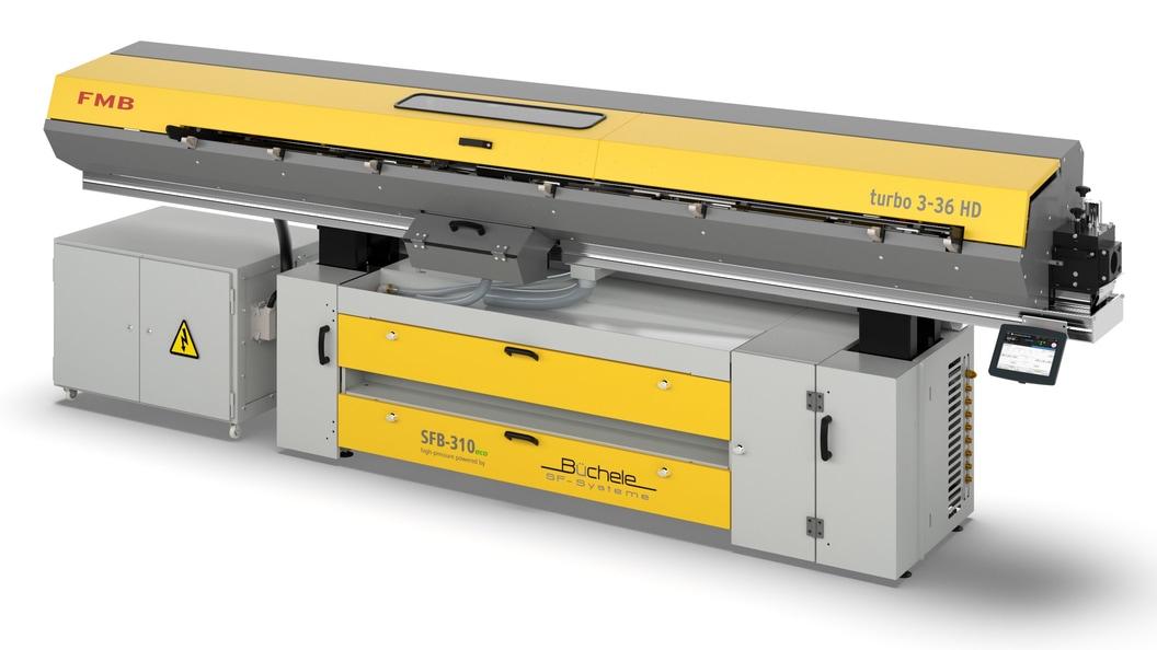 Platzsparende Kombination: Hochdruckanlage SFB-310eco  integriert in das Lademagazin von FMB  3-36H