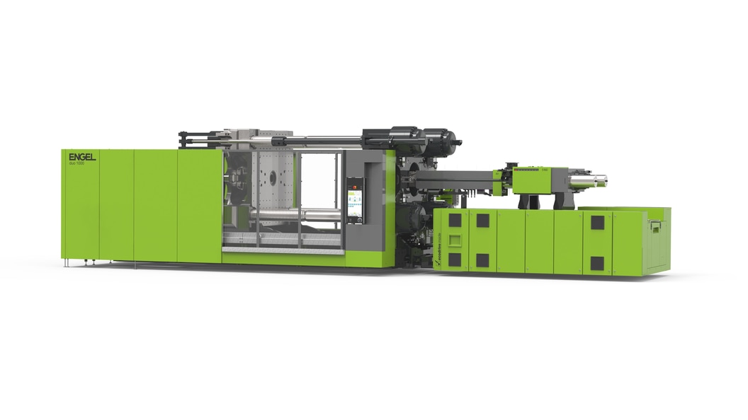 The two-platen injection moulding machine with flexible layout and compact design.
