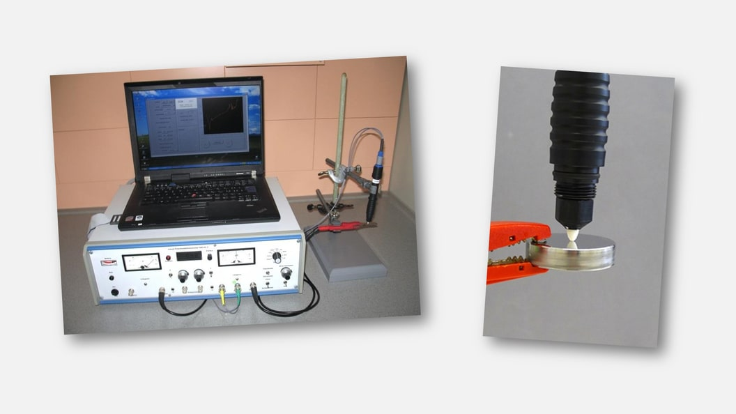 Lokale elektrochemische Korrosionsmesseinrichtung: Messsystem (links) und EC-Pen mit Spitze (rechts)