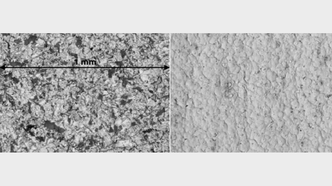 Material surface structure before and after processing with SURFAST®