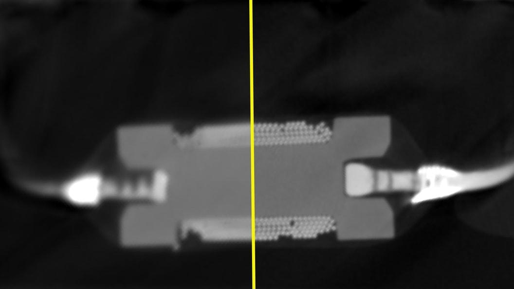 Linke Seite wurde mit «Standard» Target und rechte Seite mit «high-flux|target» tomografiert