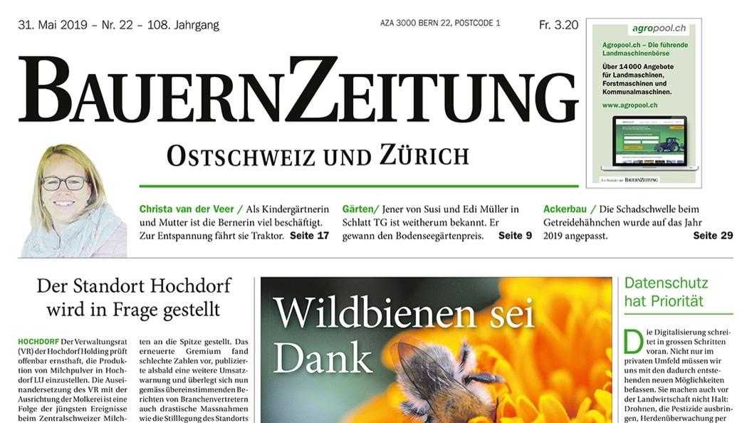 Titelseite der Regionalausgabe Ost und Zürich der BauernZeitung.