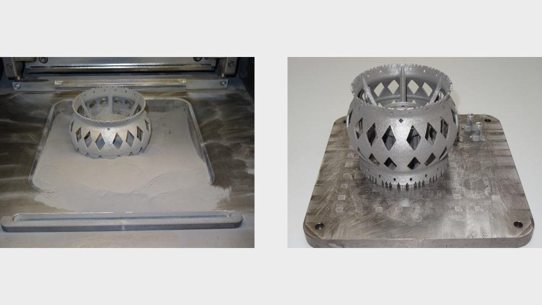 SLM gefertigte Mars-Rover-Felge nach dem additiven Aufbau