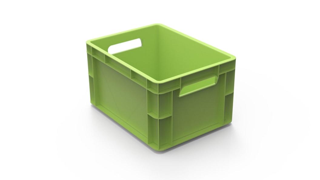 Außen Neuware, innen Rezyklat. Auf der K2019 werden Transportboxen im skinmelt Verfahren produziert.