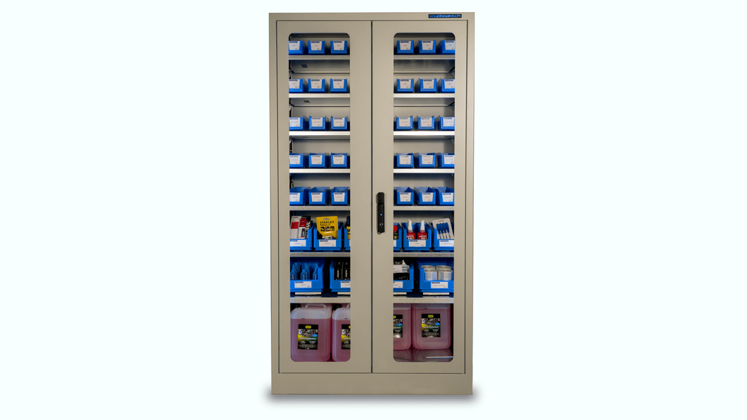 i. Cupboard, transparent with glass doors and LED lighting