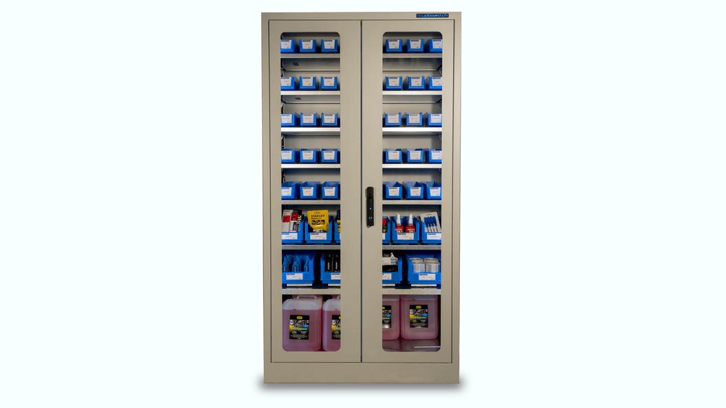 i.Cupboard, transparent mit Glastüren und LED Beleuchtung.