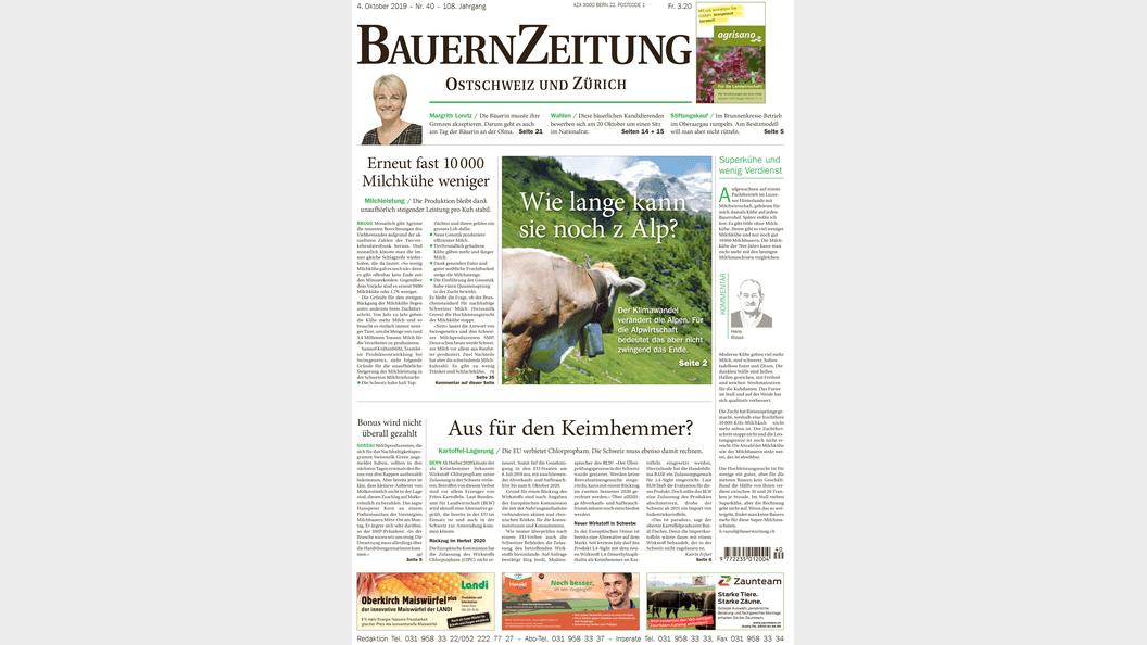 Titelseite der Regionalausgabe Ostschweiz und Zürich der BauernZeitung.