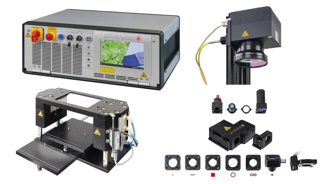 Modula components for integration in a special machine: laser unit, optics, and clamping unit.