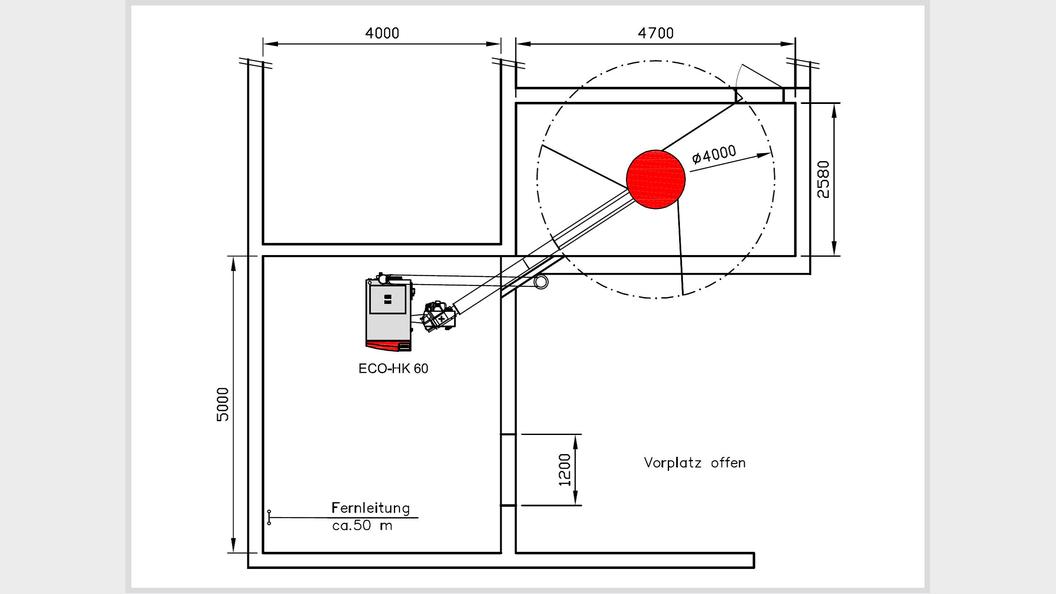 Grundrissplan der Schnitzelheizung. Das Schnitzellager ist in einem ausgedienten Futtersilo.