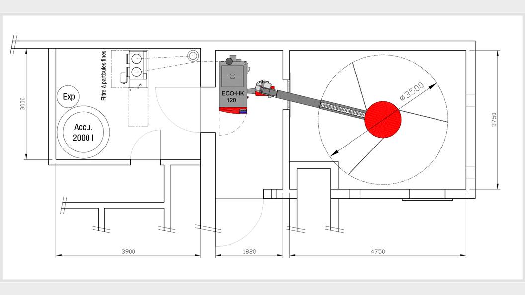 Grundrissplan der Schnitzelheizung.
