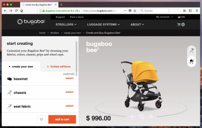 Bugaboo Configurator (with 6 to 10 options) gets everything just right.