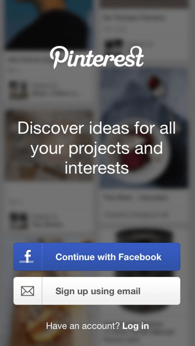 Pinterest asks users to create a new account or log in upon first loading.