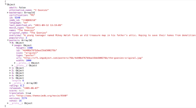 JSON viewed in Google Chrome's developer console
