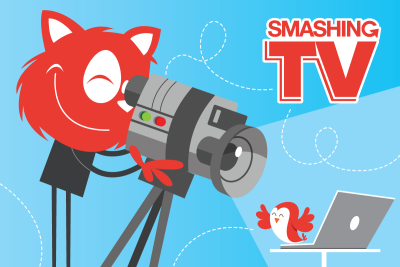 Smashing TV illustration with Topple the Cat holding a video camera
