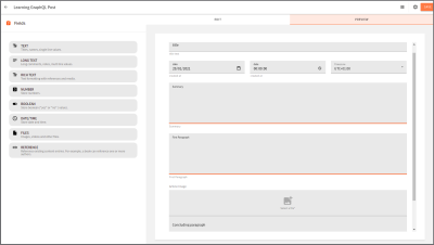 Preview showing all fields dropped in the content model editor.
