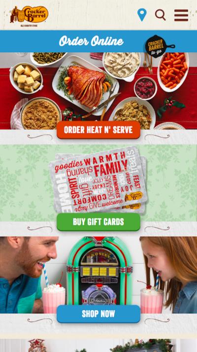 Cracker Barrel home page design
