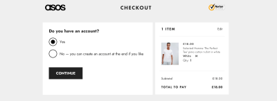 New design of ASOS page using radio buttons to let users choose whether they have an account or not