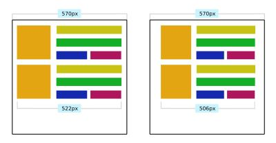 Example of how media query cannot be reliably linked to element dimensions. Various CSS properties can affect element dimensions within a container. In this example, container padding is different between the two images.