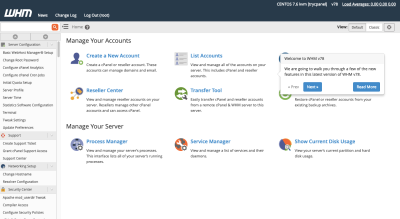 cPanel's user interface