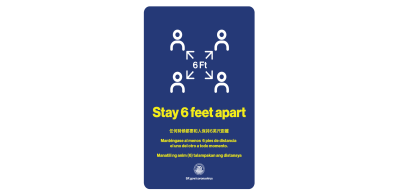 Covid-19 safety poster with a visual of four people icons separated by arrows labeled with 6 feet apart