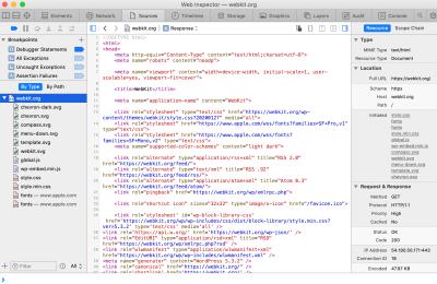 Screenshot of the Sources tab in Safari