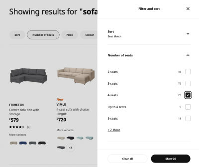 Most filters on Ikea appear in a dedicate sidebar overlay.