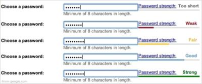 Password strength meter design pattern