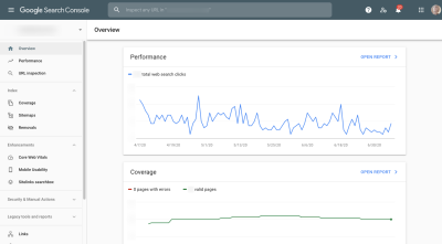 Google Search Console overview - Performance and Coverage stats