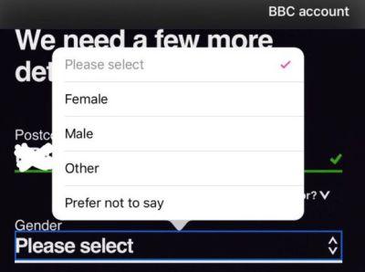 gender options