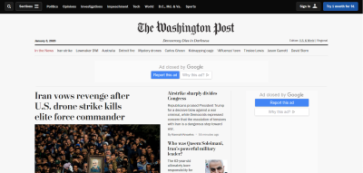 Desktop homepage of The Washington Post website